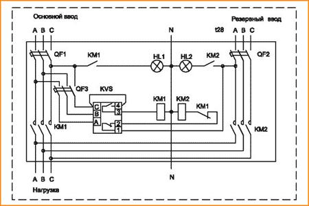 Схема АВР с контролем первого